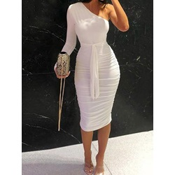 Casual Pleated Lace-Up Long Sleeve Oblique Collar Bodycon Women's Dress
