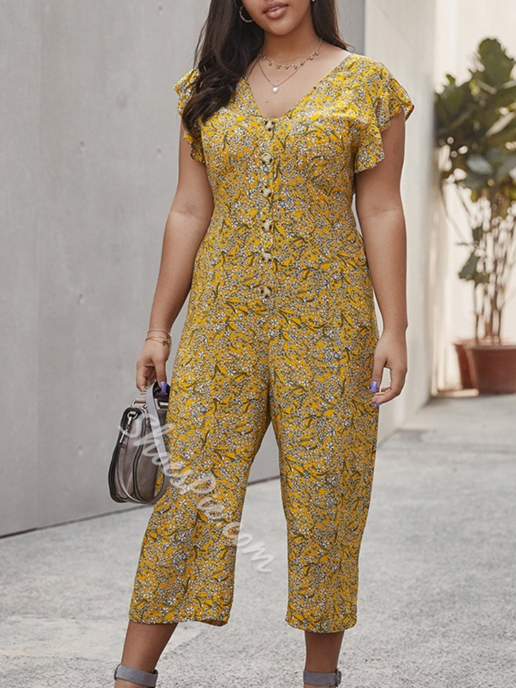 Plus Size V-Neck Floral Print Casual Loose Wide Legs Women's Jumpsuit