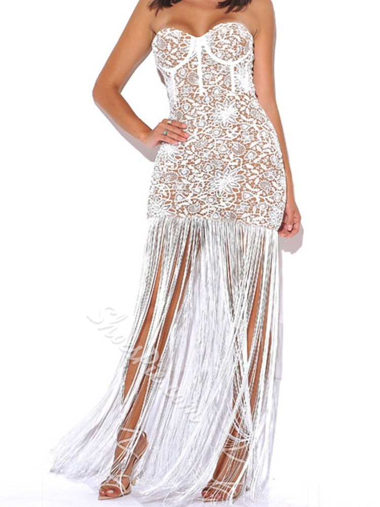 Sexy Lace Fringe Hollow Floor-Length Strapless Party Women's Dress