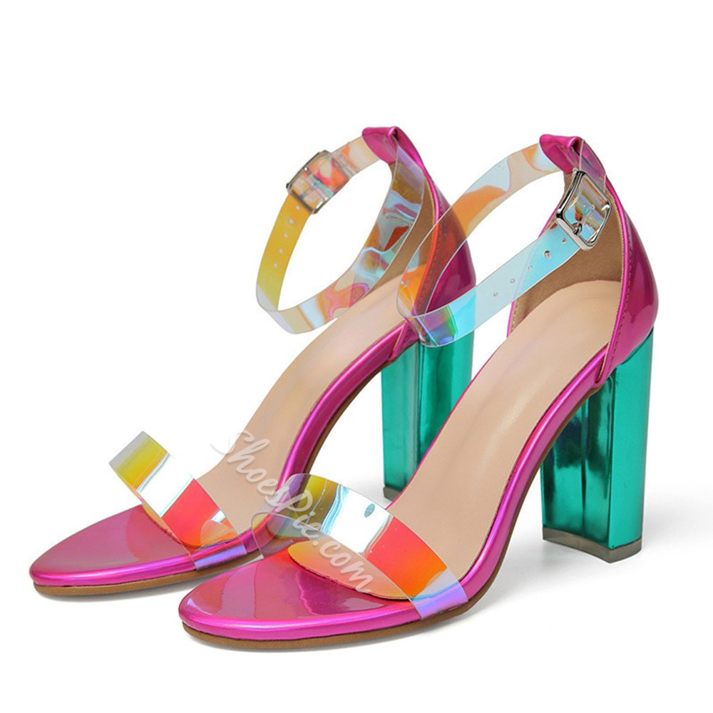 Shoespie Trendy Toe Ring Heel Covering Line-Style Buckle Sandals