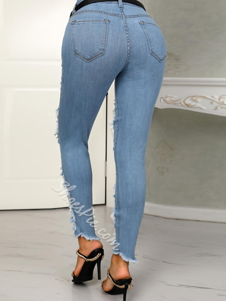 Sexy Denim Stylish Hole Skinny Women's Jeans