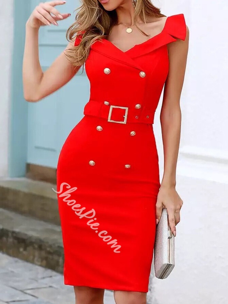 Red Stylish Belt Off Shoulder Double-Breasted Bodycon Women's Dress