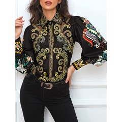 Black Single-Breasted Lantern Sleeve Print Women's Blouse