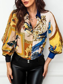 Elegant Single-Breasted Print Lapel Lantern Sleeve Women's Blouse