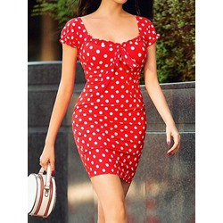 Sweet Bowknot Polka Dots Square Neck Short Sleeve Bodycon Women's Dress