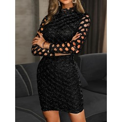 Sexy Sequins Hollow Long Sleeve See-Through Bodycon Women's Dress