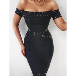 Stylish Bead Off Shoulder Short Sleeve Bodycon Women's Dress