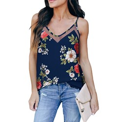Casual Spaghetti Straps V-Neck Floral Print Looes Women's Tank Top