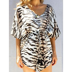 Casual Zebra Stripe Print Short Sleeve V-Neck Loose Women's Romper