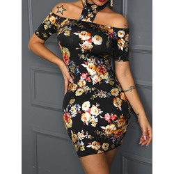 Sweet Vintage Floral Print Short Sleeve Cold Shoulder Women's Dress