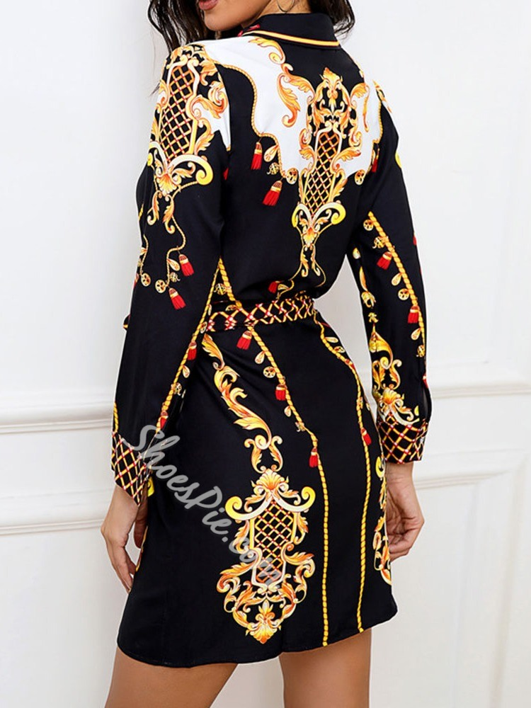 Casual Print Lapel Long Sleeve Single-Breasted Women's Dress