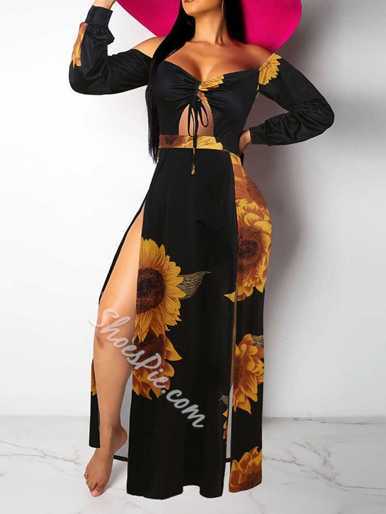Sexy Lace-Up Split Print Long Sleeve Off Shoulder Floor-Length Women's Dress