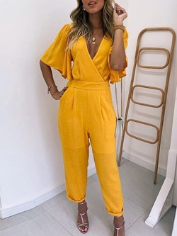 Casual V-Neck Flare Sleeve Loose Women's Jumpsuit