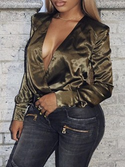Sexy Olive V-Neck Long Sleeve Women's Blouse