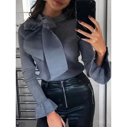 Elegant Bowknot Long Sleeve Skinny Women's Sweater
