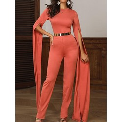 Stylish Belt Super Long Sleeve Round Neck Skinny Women's Jumpsuit