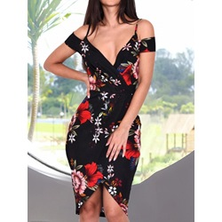 Sexy V-Neck Cold Shoulder Split Bodycon Women's Dress