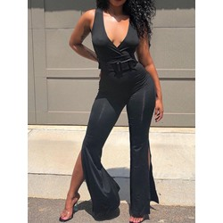 Black V-Neck Sleeveless Split Bellbottoms Women's Jumpsuit