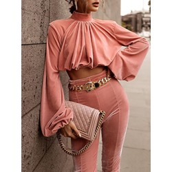 Sweet Pink Pleated Lantern Sleeve Shirt Pencil Pants Women's Two Piece Sets