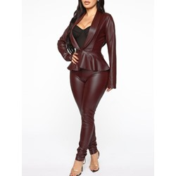 Stylish Office Lady Falbala Leather Coat Pencil Pants Women's Two Piece Sets