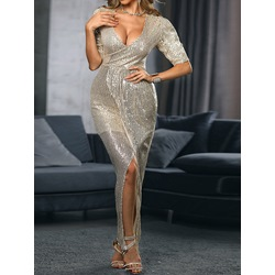 Sexy Sequins V-Neck Short Sleeve Floor-Length Bodycon Women's Dress