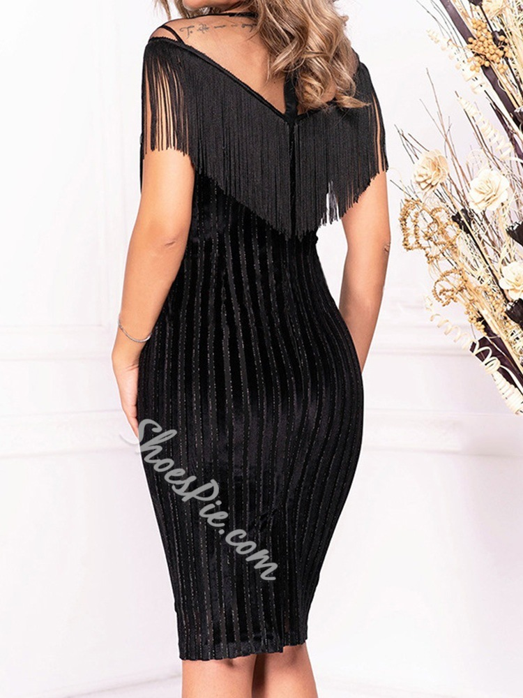 Elegant Black Fringe Mesh See-Through Bodycon Women's Dress