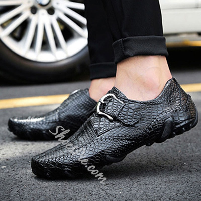 Shoespie Men's Alligator Pattern Flat With Low-Cut Upper Buckle Leather Loafers