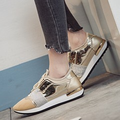 Shoespie Trendy Thread Lace-Up Low-Cut Upper PU Sneakers