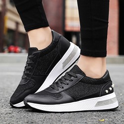 Shoespie Stylish Rivet Lace-Up Beads Round Toe Flat With Sneakers