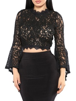 Sexy Short Hollow Lace See-Though Flare Sleeve Women's Blouse