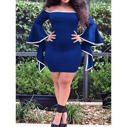 Blue Off Shoulder Flare Sleeve Asymmetric Bodycon Women's Dress