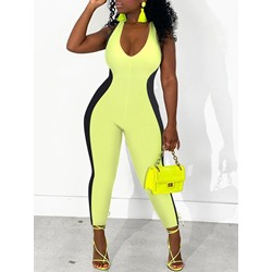 U-Neck SleevelessColor Block Sexy Skinny Women's Jumpsuit