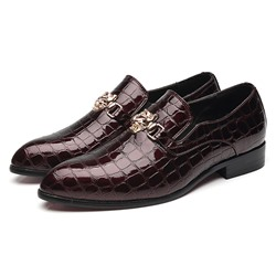 Shoespie Men's Alligator Pattern Flat With Low-Cut Upper PU Leather Oxfords