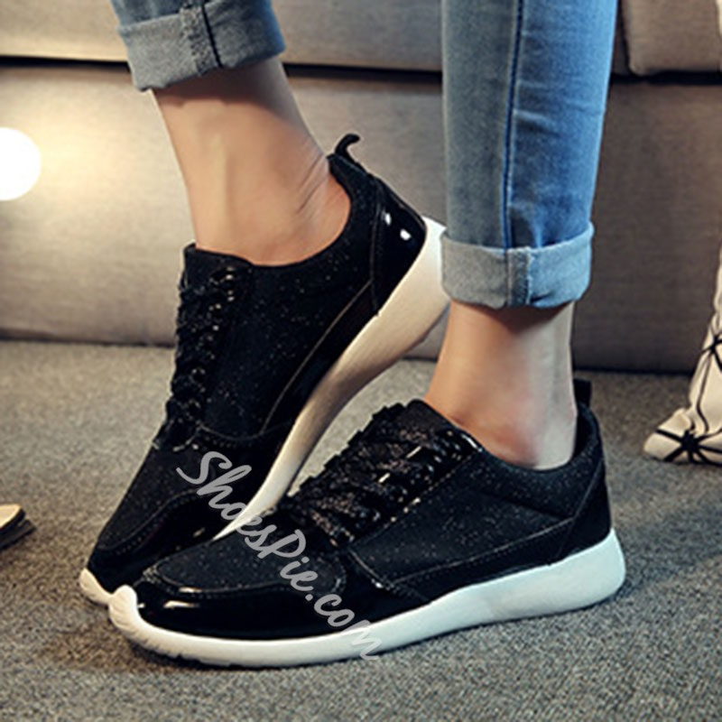 Shoespie Stylish PU Low-Cut Upper Round Toe Lace-Up Casual Sneakers