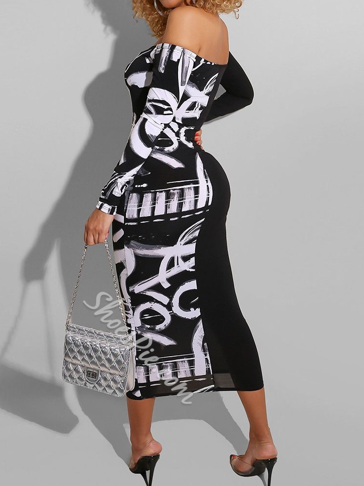 Casual Letter Print Off Shoulder Long Sleeve Bodycon Women's Dress