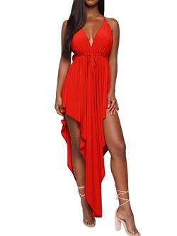 Sexy Red Lace-Up Sleeveless Asymmetrical Floor-Length Women's Dress