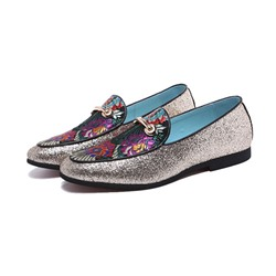 Shoespie Men's Sequin Flat Heel Low-Cut Upper Floral Round Toe Oxfords