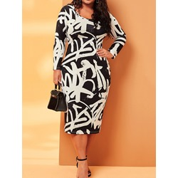 Plus Size Round Neck Print Long Sleeve Bodycon Women's Dress