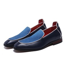 Shoespie Men's Slip-On Low-Cut Upper Flat Heel Color Block Oxfords