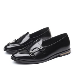 Shoespie Men's Flat Heel Low-Cut Upper Slip-On Round Toe Buckle Oxfords