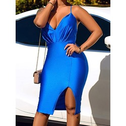 Sexy Split V-Neck Spaghetti Strap Backless Party Women's Dress