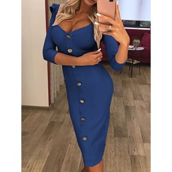 Sexy V-Neck Three-Quarter Sleeve Stringy Selvedge Bodycon Women's Dress