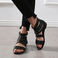 Shoespie Trendy Zipper Heel Covering Open Toe Flat Sandals