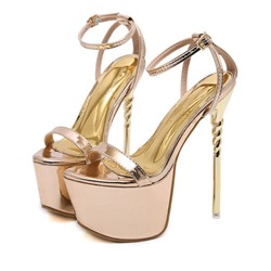 Shoespie Stylish Open Toe Line-Style Buckle Stiletto Heel Platform Sandals