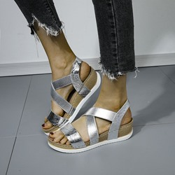 Shoespie Sexy Wedge Heel Slip-On Open Toe Patchwork Sandals