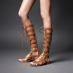 Shoespie Trendy Hollow Rivet Lace-up Back Zip PU Knee High Flat Sandals