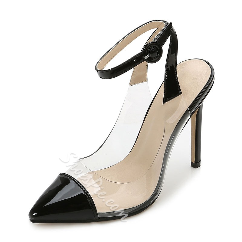 Shoespie Stylish Stiletto Heel Line-Style Buckle Pointed Toe PVC Sandals