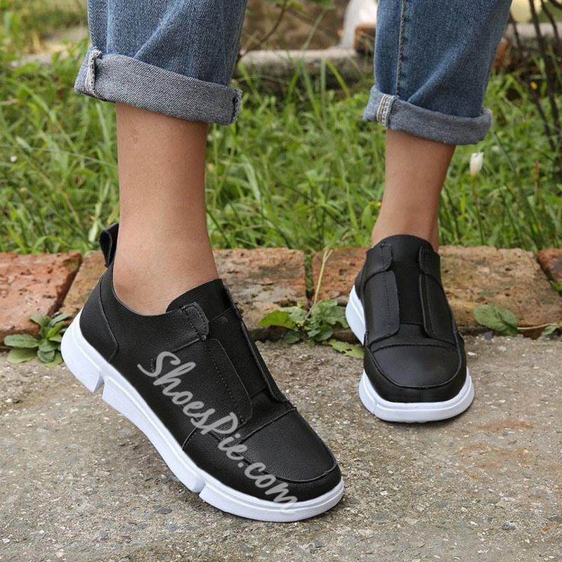 Shoespie Stylish Platform Flat With Round Toe Plain Thin Shoes