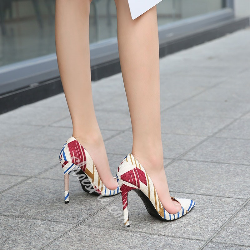 Shoespie Sexy Slip-On Print Color Block Pointed Toe Stiletto Heels