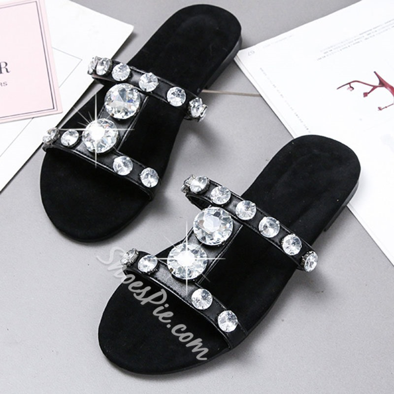 Shoespie Stylish Rhinestone Slip-On Casual Flat Slippers